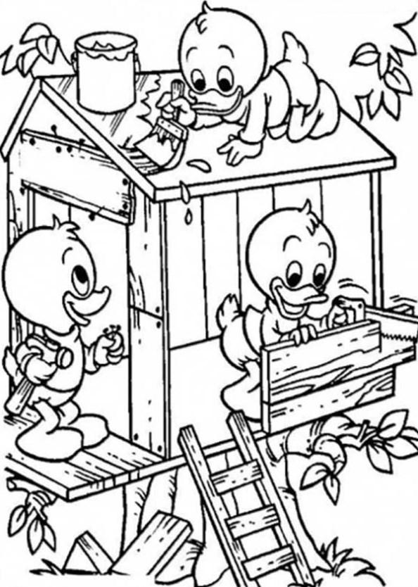 Kwik Kwek En Kwak En Donald Duck Kleurplaat Baumhaus Malvorlagen Malvorlagen1001 De